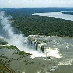 High angle view of a waterfall, Iguacu Falls, Iguacu River, Iguacu National Park, Parana State, Brazil