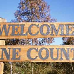 Low angle view of a Welcome sign, Wine Country, Australia