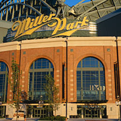 Low angle view of a stadium, Major League Baseball, Miller Park, Milwaukee, Wisconsin, USA