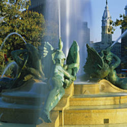 Fountain In Front Of A Building, Logan Circle, City Hall, Philadelphia, Pennsylvania, USA