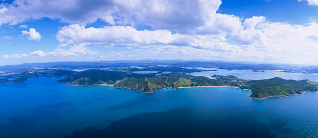 Aerial view of an island, Bay of Islands, North Island, New Zealand