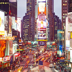 Times square at dusk, Manhattan, New York City, New York State, USA