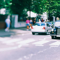 Traffic on a road, Abbey Road, London, England