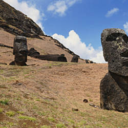 Low angle view of Moai statues, Tahai Archaeological Site, Rano Raraku, Easter Island, Chile