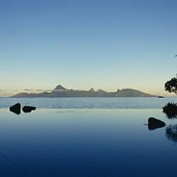 Silhouette of a tourist resort, Tahiti Beachcomber Resort, Papeete, Tahiti, French Polynesia