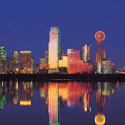 Reflection of buildings in water, City Center District, Downtown Dallas, Dallas, Texas, USA