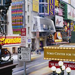 Road running through a market, 42nd Street, Manhattan, New York City, New York State, USA