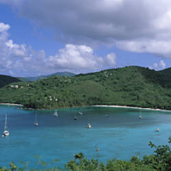 Clouds over mountains, Francis And Maho Bays, Virgin Islands National Park, St. John, US Virgin Islands