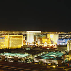 High Angle View Of Buildings Lit Up At Night, Las Vegas, Nevada, USA