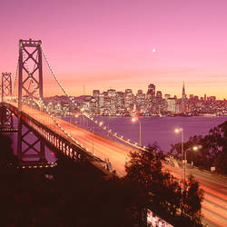 USA, California, San Francisco, Bay Bridge at dusk