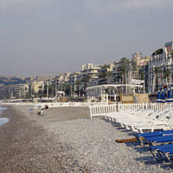Empty lounge chairs on the beach, Nice, French Riviera, France