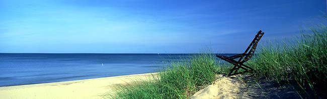 Beach chair on the beach, Lake Michigan, Holland, Michigan, USA