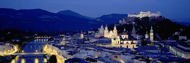 High Angle View Of Buildings In A City, Salzburg, Austria