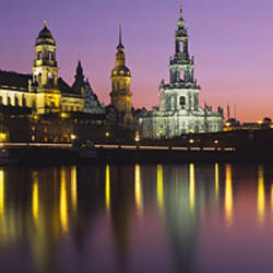 Reflection Of Buildings On Water At Night, Dresden, Germany
