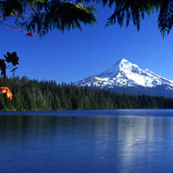Reflection of mountain in a lake, Lost Lake, Mt Hood, Mt Hood National Forest, Oregon, USA
