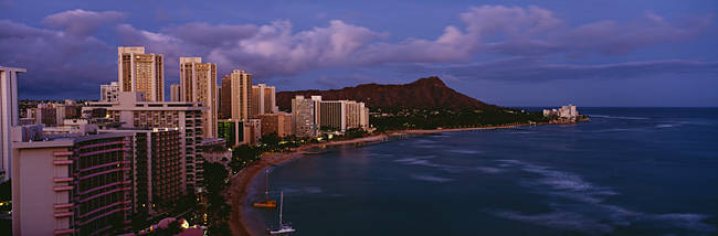 High Angle View Of Buildings On The Beach, Waikiki Beach, Oahu, Honolulu, Hawaii, USA