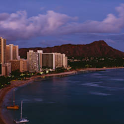 High Angle View Of Buildings On The Beach, Waikiki Beach, Oahu, Honolulu, Hawaii, USA