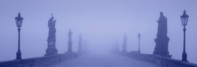 Charles Bridge In Fog, Prague, Czech Republic