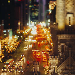High angle view of traffic moving on the road, Chicago, Illinois, USA