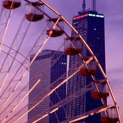 USA, Illinois, Chicago, Ferris Wheel, evening at Navy Pier, view of Hancock Building