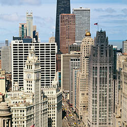 Skyscrapers in a city, view from the Carbide Building, Michigan Avenue, Chicago, Illinois, USA