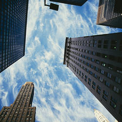 Skyscrapers in a city, Carbide And Carbon Building, Illinois Center, Michigan Avenue, Chicago, Cook County, Illinois, USA