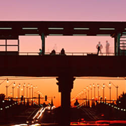 Silhouette of an elevated train platform,Chicago,llinois,USA