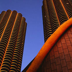 Low angle view of skyscrapers, Marina Towers, Chicago, Cook County, Illinois, USA
