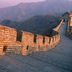 High angle view of the Great Wall Of China, Mutianyu, China