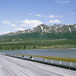 Wooden bridge over a river, Nenana River, Alaska, USA
