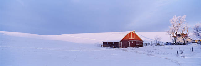 USA, Washington, Barn in a snow covered field
