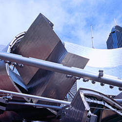 USA, Illinois, Chicago, Millennium Park, Pritzker Pavilion, Low angle view of a sculpture outside an amphitheater
