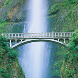 Low angle view of a bridge near a waterfall, Multnomah Falls, Benson Bridge, Oregon, USA