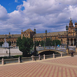 Tourists at a plaza, Plaza De Espana, Seville, Andalusia, Spain