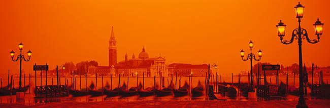 Gondolas moored at a dock, San Giorgio Maggiore, Venice, Italy