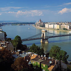 High angle view of a bridge across a river, Chain bridge, Budapest, Hungary