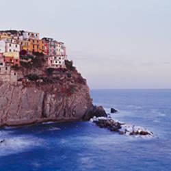 Town on a hillside, Manarola, Riomaggiore, Cinque Terre, Liguria, Italy