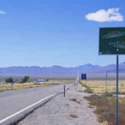 Empty road running through a landscape, Route 375, Extraterrestrial Highway, Nevada, USA