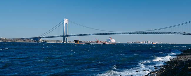 Suspension bridge over a bay, Verrazano-Narrows Bridge, New York Harbor, Staten Island, New York City, New York State, USA