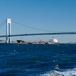 Suspension bridge over a bay, Verrazano-Narrows Bridge, New York Harbor, Staten Island, New York City, New York State, USA