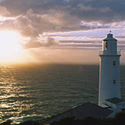 Lighthouse in the sea, Trevose Head Lighthouse, Cornwall, England