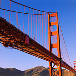 Low angle view of a suspension bridge, Golden Gate Bridge, San Francisco, Marin County, California, USA