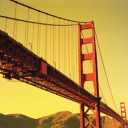 Low angle view of a suspension bridge, Golden Gate Bridge, San Francisco, California, USA