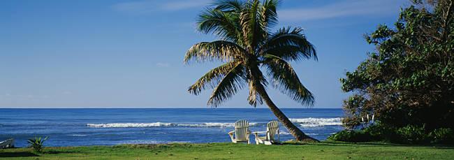 Two adirondack chairs on the beach, Kaneohe Bay, Oahu, Hawaii Islands, USA
