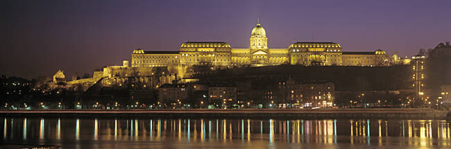 Hungary, Budapest, Szechenyi Konyvtar, View of a state building lit up at night