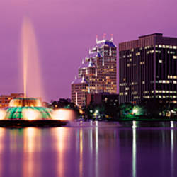 View Of A City Skyline At Night, Orlando, Florida, USA