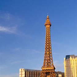 Cars parked at the roadside, Paris Las Vegas, Replica Eiffel Tower, Las Vegas, Clark County, Nevada, USA