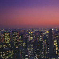 Twilight, Aerial, NYC, New York City, New York State, USA