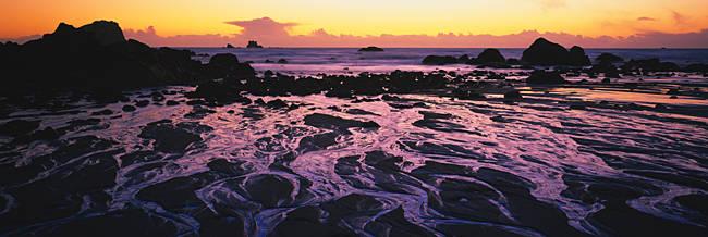 Beach at sunset, Del Norte County, California, USA