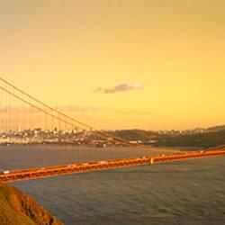 High angle view of a suspension bridge across the sea, Golden Gate Bridge, San Francisco, California, USA